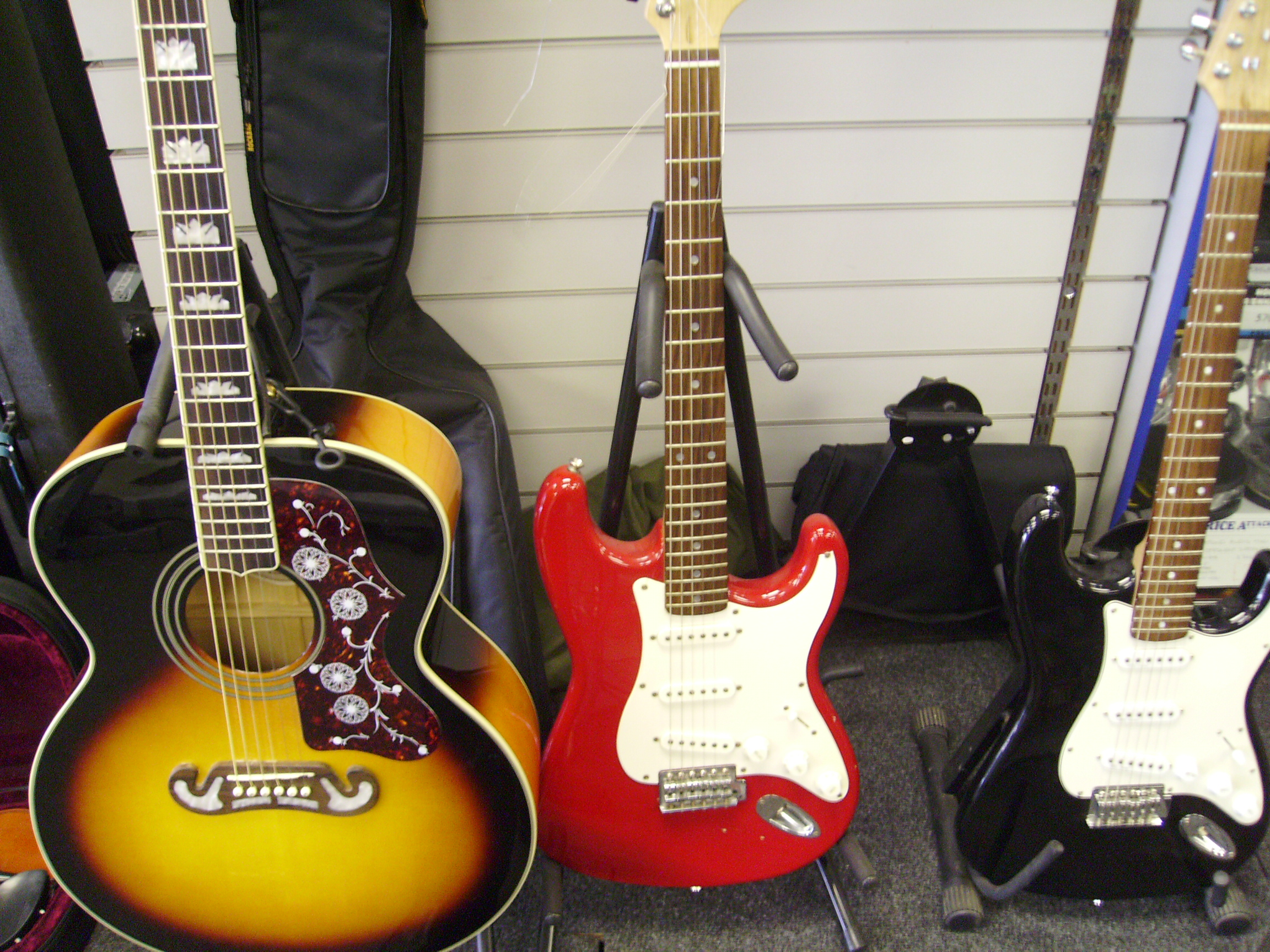 Musical Instruments - guitars, amps, effects.   Other instruments including flutes, saxophones, violins etc